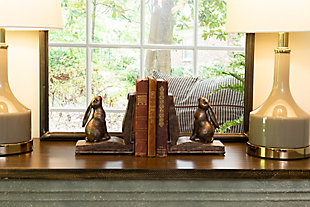 Rustic Bronze Rabbit on Book Resin Bookends (Set of 2 Pieces), , rollover