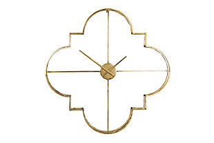Home Accents Brass Quatrefoil Shaped Metal Clock with Open Face, , large