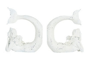 Distressed White Stone Resin Mermaid Bookends (Set of 2 Pieces), , large
