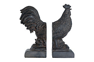 Distressed Bronze Rooster Shaped Bookends (Set of 2 Pieces), , large