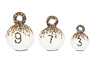 Heavily Distressed Round Resin Weights with Handles (Set of 3 Sizes), , large