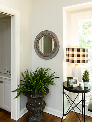 Home Accents Round Decorative Wood Wall Mirror, , rollover