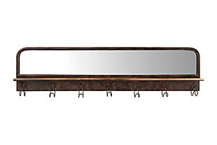 "39.5"" Metal Wall Mirror with Wood Shelf and 7 Hooks, , large"