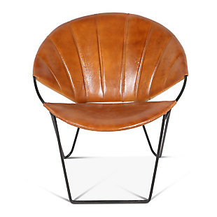 Hudson Hudson Stitched Leather Moon Lounge Chair, , large