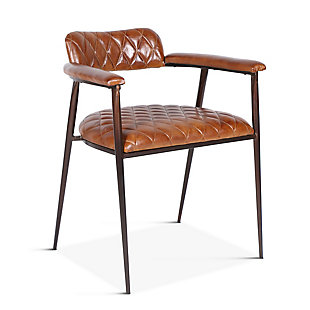 Hudson Hudson Diamond Stitched Leather Armchair, , rollover