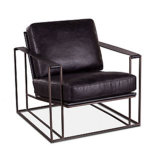 Portlando  Portlando Black Leather Armchair, , rollover