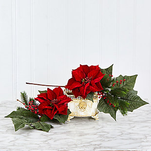 "Christmas 31"" Poinsettia, Berries and Pine Artificial Flower Bundle (Set of 3), , rollover"