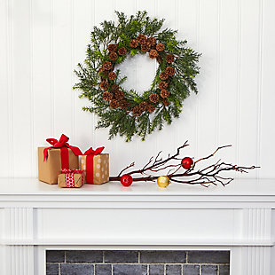 "Christmas 22"" Cedar, Grass and Pine Cone Artificial Wreath UV Resistant (Indoor/Outdoor), , rollover"