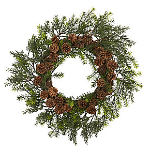 "Christmas 22"" Cedar, Grass and Pine Cone Artificial Wreath UV Resistant (Indoor/Outdoor), , large"