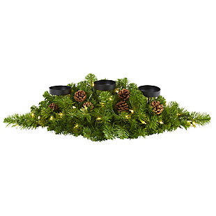 "Christmas 30"" Christmas Artificial Pine Triple Candelabrum with 35 Clear Lights and Pine Cones, , large"