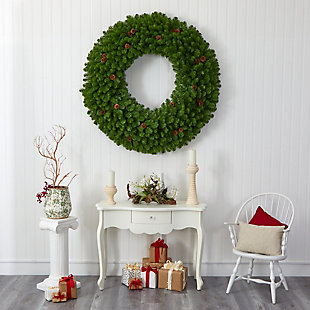 Christmas 5' Giant Artificial Christmas Wreath with 280 Warm White Lights and Pine Cones, , rollover