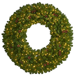 Christmas 5' Giant Artificial Christmas Wreath with 280 Warm White Lights and Pine Cones, , large