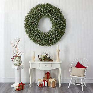 Christmas 5' Giant Flocked Artificial Christmas Wreath with 280 Multicolored Lights and Pine Cones, , rollover
