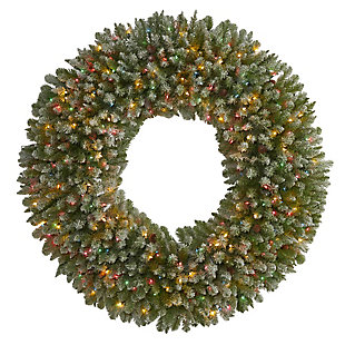 Christmas 5' Giant Flocked Artificial Christmas Wreath with 280 Multicolored Lights and Pine Cones, , large
