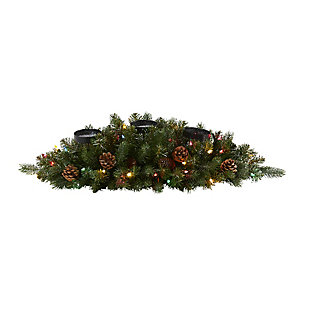 "Christmas 30"" Flocked and Glittered Artificial Christmas Triple Candelabrum with 35 Multicolored Lights and Pine Cones, , large"