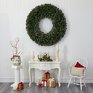 Christmas 5' Giant Flocked Artificial Christmas Wreath with 280 Multicolored Lights, Glitter and Pine Cones, , rollover