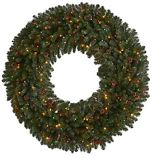 Christmas 5' Giant Flocked Artificial Christmas Wreath with 280 Multicolored Lights, Glitter and Pine Cones, , large