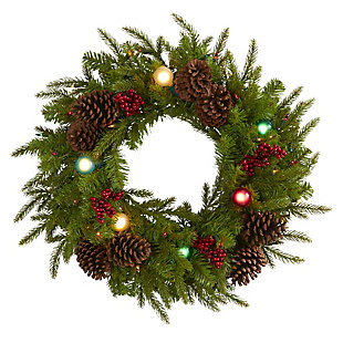 "Christmas 24"" Christmas Artificial Wreath with 50 Multicolored Lights, 7 Multicolored Globe Bulbs, Berries and Pine Cones, , large"