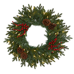 "Christmas 24"" Green Pine Artificial Christmas Wreath with 50 Warm White LED Lights, Berries and Pine Cones, , large"