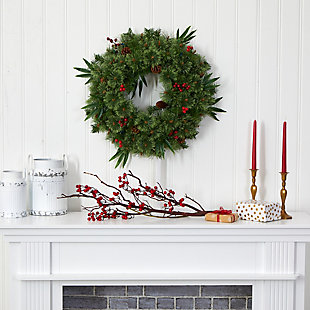"""Christmas 24"""" Mixed Pine Artificial Christmas Wreath with 50 Multicolored LED Lights, Berries and Pine Cones, , rollover"""