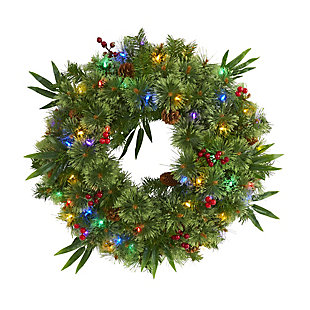 """Christmas 24"""" Mixed Pine Artificial Christmas Wreath with 50 Multicolored LED Lights, Berries and Pine Cones, , large"""