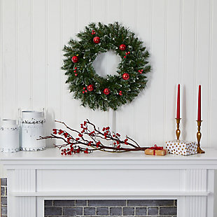 "Christmas 24"" Frosted Artificial Christmas Wreath with 50 Warm White LED Lights, Ornaments and Berries, , rollover"