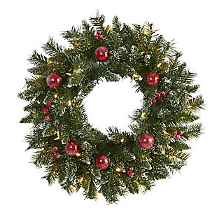 "Christmas 24"" Frosted Artificial Christmas Wreath with 50 Warm White LED Lights, Ornaments and Berries, , large"