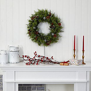 """Christmas 24"""" Christmas Artificial Wreath with 50 White Warm Lights, 7 Globe Bulbs, Berries and Pine Cones, , rollover"""
