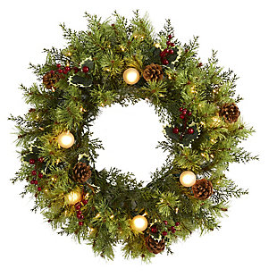 """Christmas 24"""" Christmas Artificial Wreath with 50 White Warm Lights, 7 Globe Bulbs, Berries and Pine Cones, , large"""