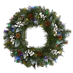 "Christmas 24"" Snow Tipped Artificial Christmas Wreath with 50 Multicolored LED Lights, White Berries and Pine Cones, , large"