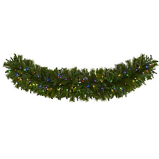 "Christmas 6' x 18"" Christmas Pine Extra Wide Artificial Garland with 100 Multicolored LED Lights, , large"