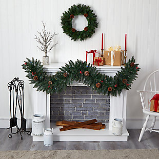 Christmas 6' Snow Dusted Artificial Christmas Garland with 50 Multicolored LED Lights, Berries and Pinecones, , rollover