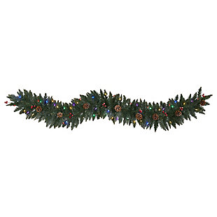 Christmas 6' Snow Dusted Artificial Christmas Garland with 50 Multicolored LED Lights, Berries and Pinecones, , large
