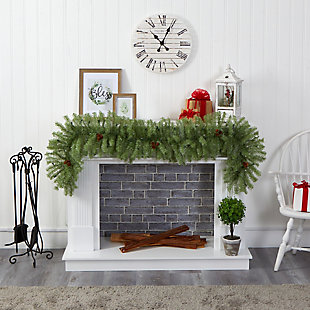 Christmas 6' Christmas Pine Artificial Garland with 50 Warm White LED Lights and Pine Cones, , rollover