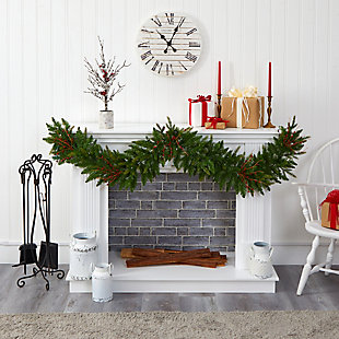 Christmas 6' Christmas Pine Artificial Garland with 50 Warm White LED Lights and Berries, , rollover