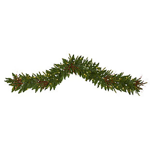 Christmas 6' Christmas Pine Artificial Garland with 50 Warm White LED Lights and Berries, , large