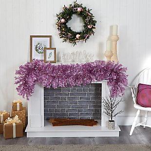 Christmas 6' Pink Artificial Christmas Garland with 50 White Warm Lights, , rollover