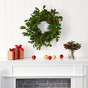 "Christmas 24"" Holly Berry Artificial Wreath, , rollover"