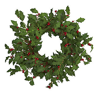 "Christmas 24"" Holly Berry Artificial Wreath, , large"