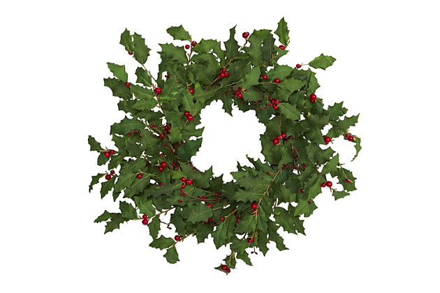 """Christmas 24"""" Holly Berry Artificial Wreath, , large"""