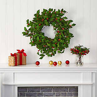 "Christmas 28"" Holly Berry Artificial Wreath, , rollover"
