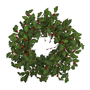 "Christmas 28"" Holly Berry Artificial Wreath, , large"