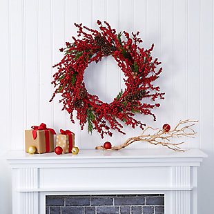 "Christmas 34"" Cypress Artificial Wreath with Berries and Pine Cones, , rollover"