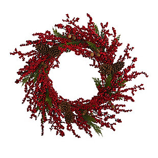 "Christmas 34"" Cypress Artificial Wreath with Berries and Pine Cones, , large"