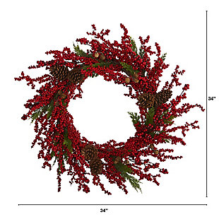 """Christmas 34"""" Cypress Artificial Wreath with Berries and Pine Cones, , large"""