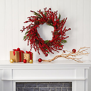 "Christmas 28"" Cypress Artificial Wreath with Berries and Pine Cones, , rollover"