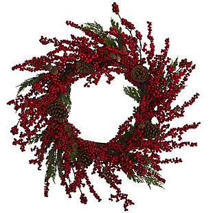 "Christmas 28"" Cypress Artificial Wreath with Berries and Pine Cones, , large"