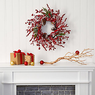 "Christmas 24"" Frosted Cypress Artificial Wreath with  Berries and Pine Cones, , rollover"