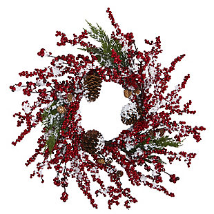 "Christmas 24"" Frosted Cypress Artificial Wreath with  Berries and Pine Cones, , large"