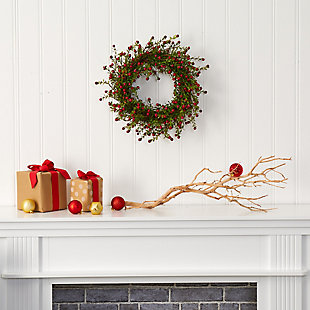 "Christmas 16"" Boxwood and Berries Artificial Wreath, , rollover"